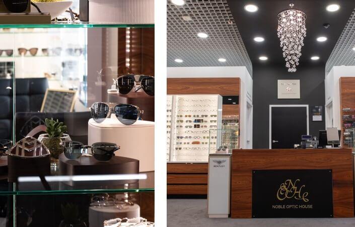 wnętrze luksusowego butiku optycznego z markami premium